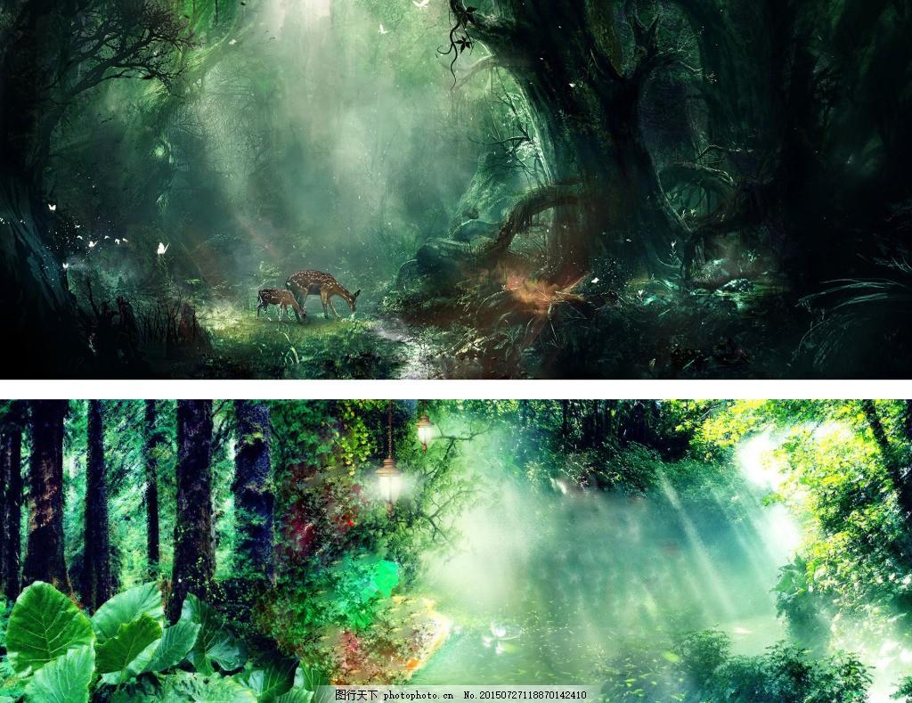 梦幻绿森林背景图