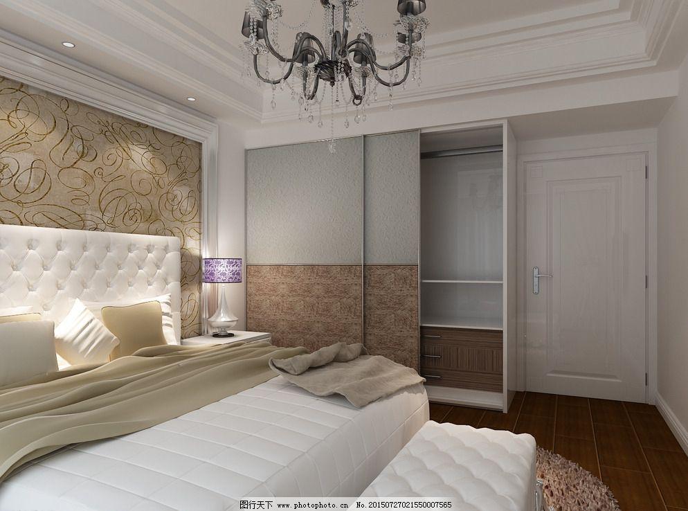 卧室效果图图片免费下载 3d设计 bmp 吊顶 简欧 欧式 设计