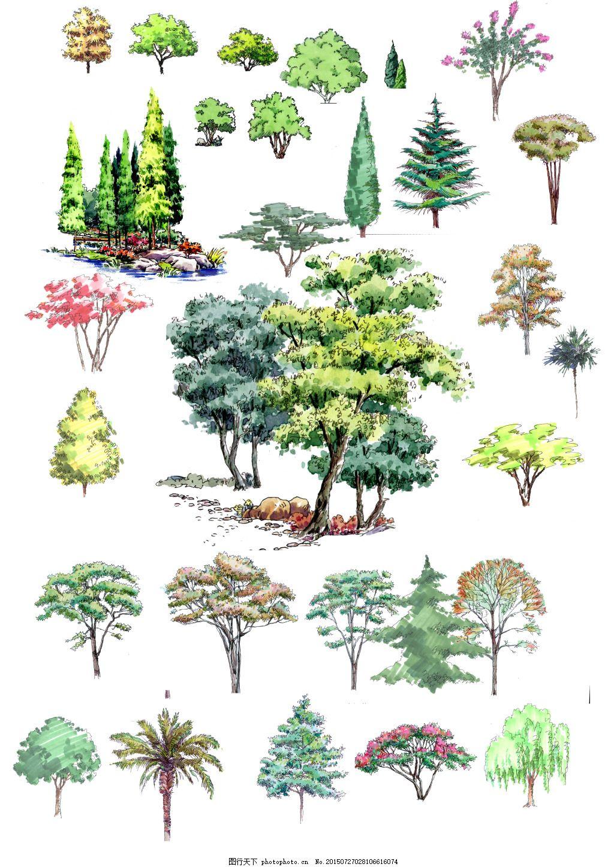 手绘立面植物 立面植物 手绘植物 树木素材 psd素材 柳树 花树 花朵