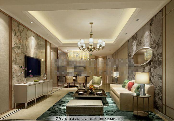 客厅空间下载 客厅空间 欧式 客厅空间3d模型素材 3d模型 max 灰色