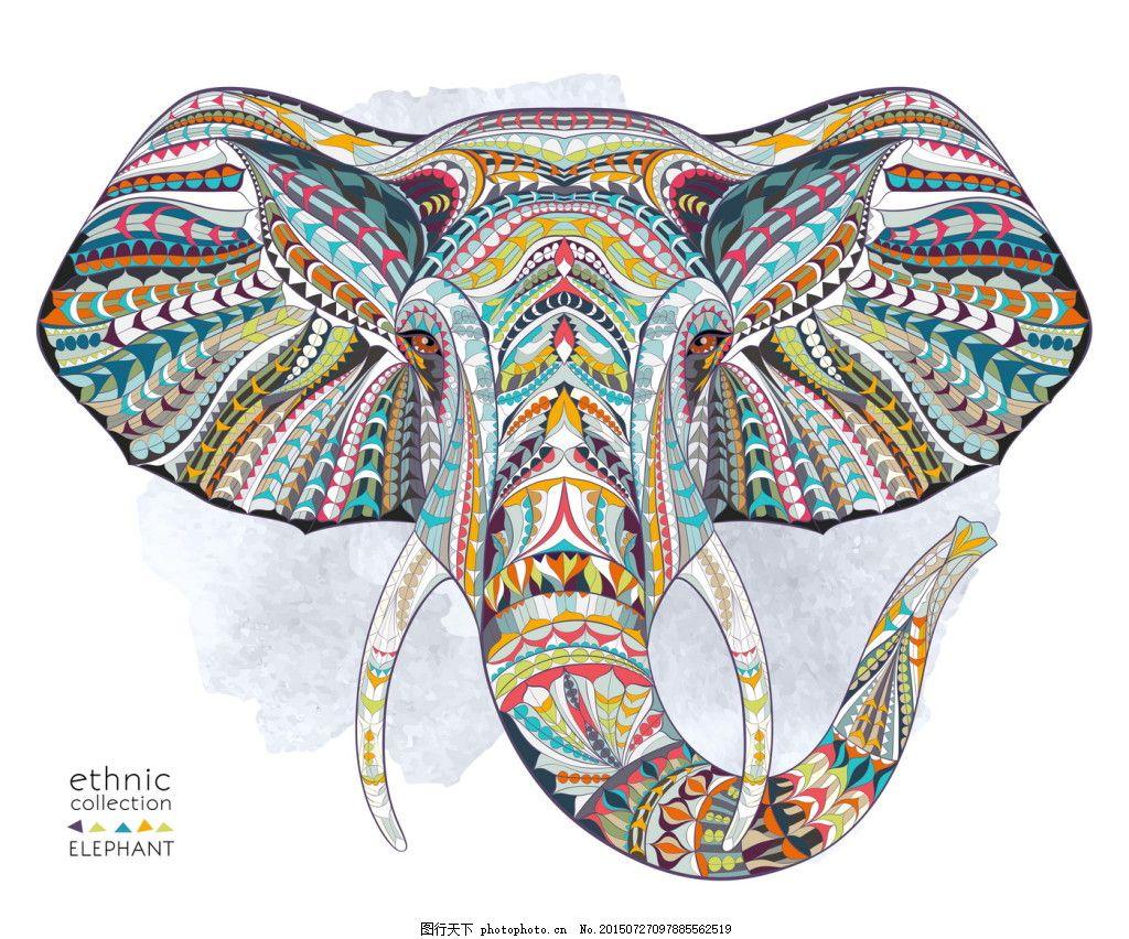 装饰画彩色线条动物-象-01 大象 美式 矢量 手绘 白色