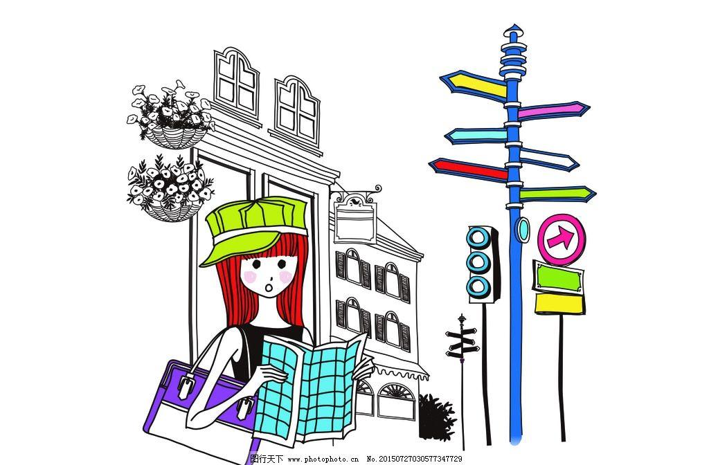 手绘 女孩 指示灯 卡通 手绘女孩 矢量 素材 矢量素材 旅行 读书 书本