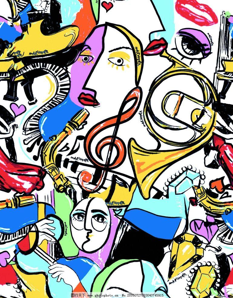 红唇喇叭 动漫人物 彩色人物 黄色喇叭 分层图片 设计 psd分层素材