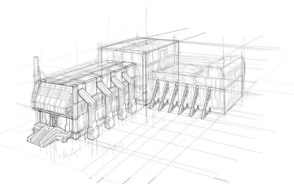建筑小品铅笔手绘
