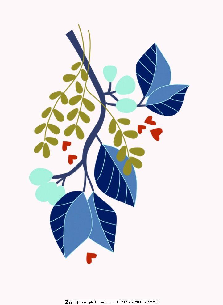 叶子 装饰图案 心形 插画 蓝色 设计 其他 图片素材 1000dpi jpg