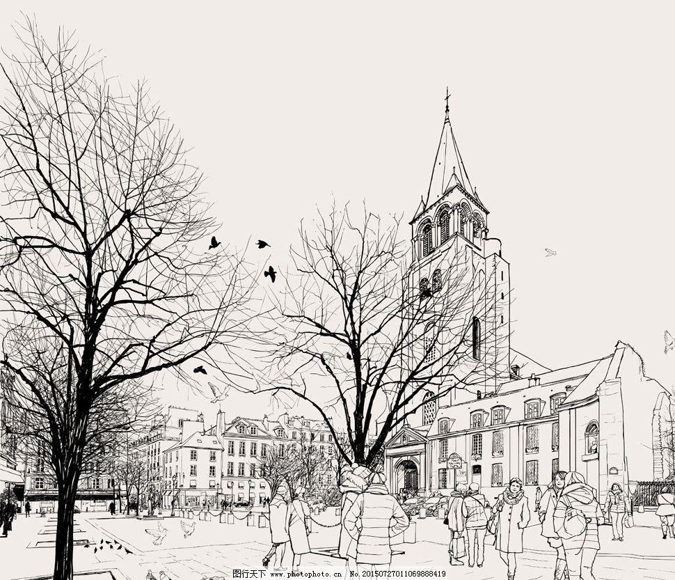 建筑 建筑家居 建筑园林 欧式建筑 人物 手绘 手绘建筑 素描 线描
