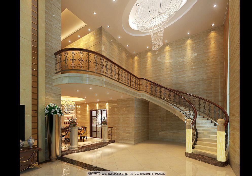 法式室内效果 气派客厅效果 室内效果图 吊灯效果 楼梯效果图 欧式