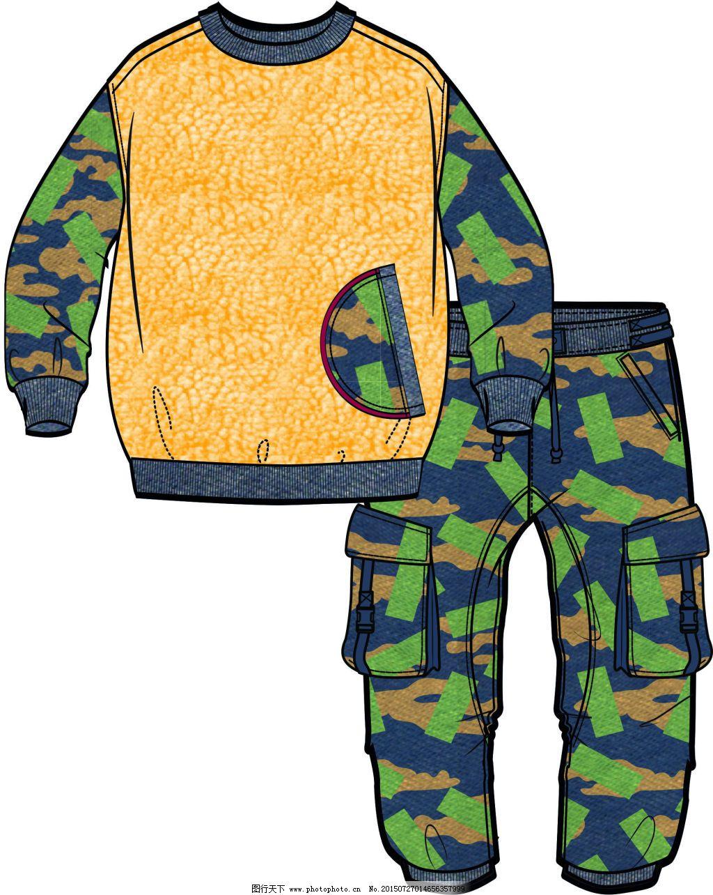 卫衣 手绘款式图cdr