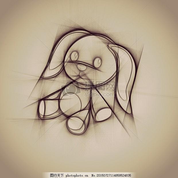 素描纸上的小兔子 野兔 滑稽 铅笔 可爱素描 纸 绘画 美术     红色