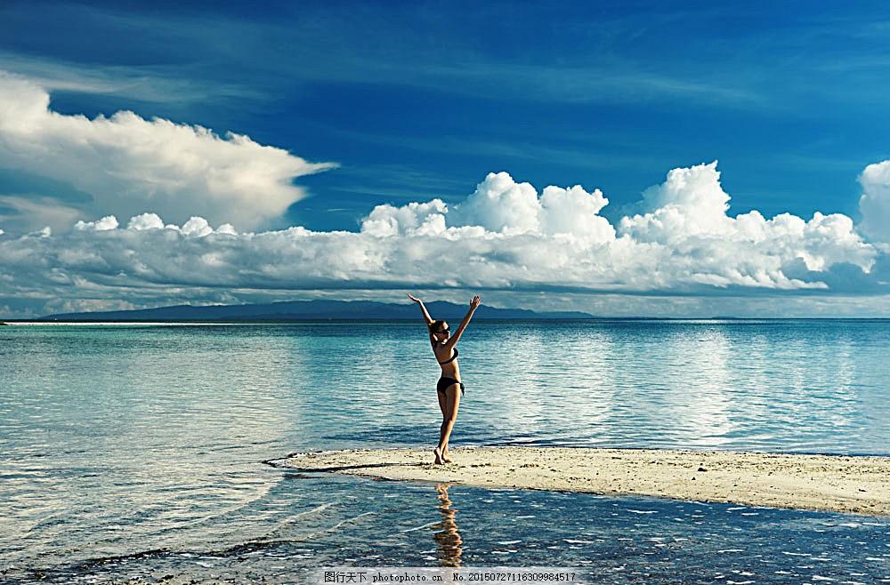 海边度假 休闲 娱乐 风景 海边风景 大海 蓝天 沙滩 比基尼