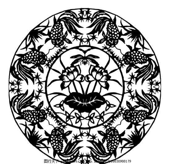 鱼虾纹样 传统图案 设计素材 动物图案 装饰图案 书画美术     白色