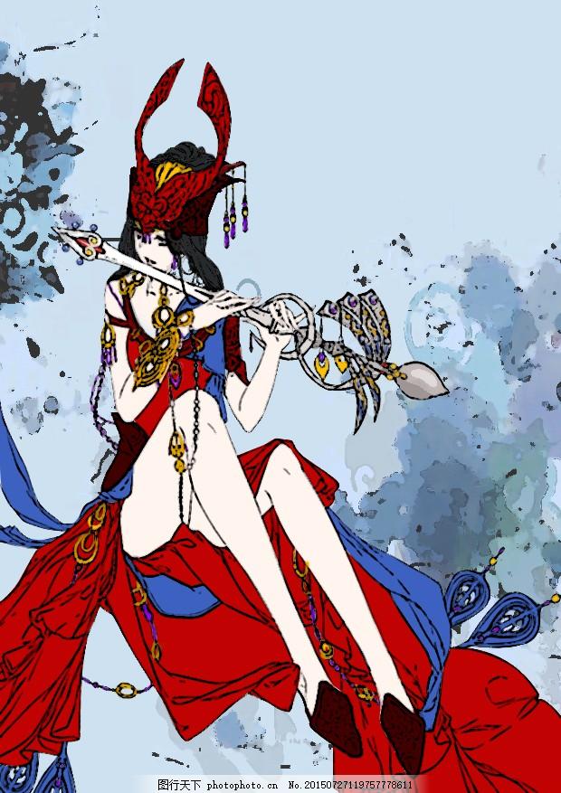 唯美古风手绘美女 古风美女 红衣美女 性感 线描 少数民族美女