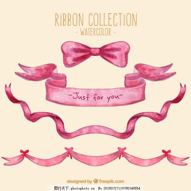 粉色水彩蝴蝶结 横幅 丝带 手 装饰 粉红色 艺术 可爱 包装