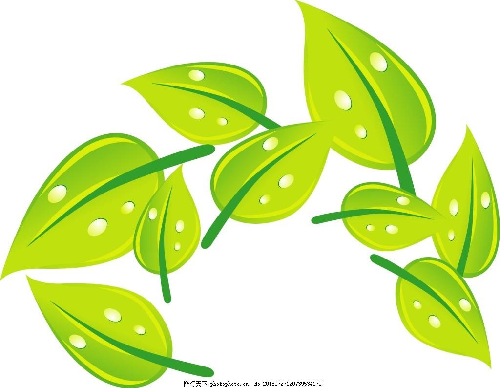 绿叶矢量图 树叶 叶子 绿色叶子 线条叶子 白色图片