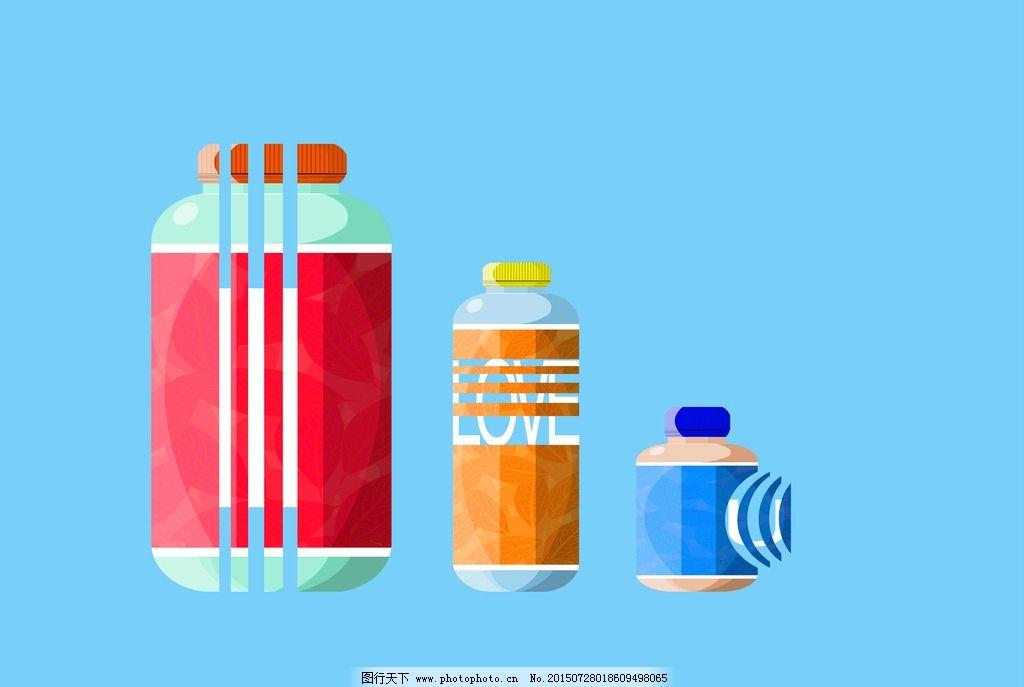 手绘创意饮料瓶图片