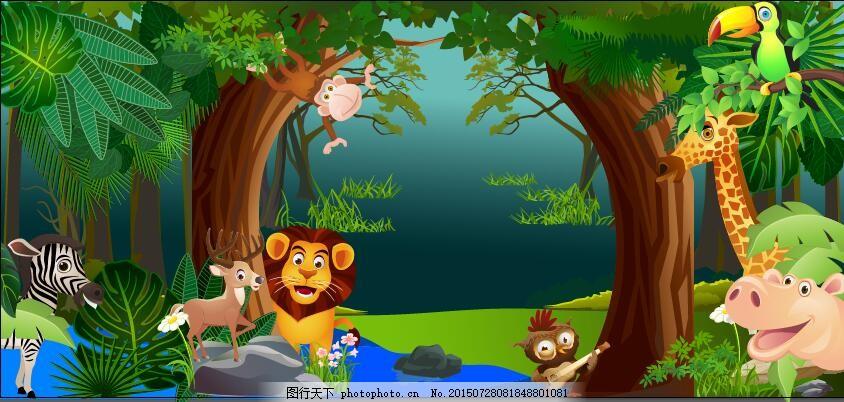 热带森林动物矢量素材 森林 动物 矢量 树 植物 ai 绿色 ai