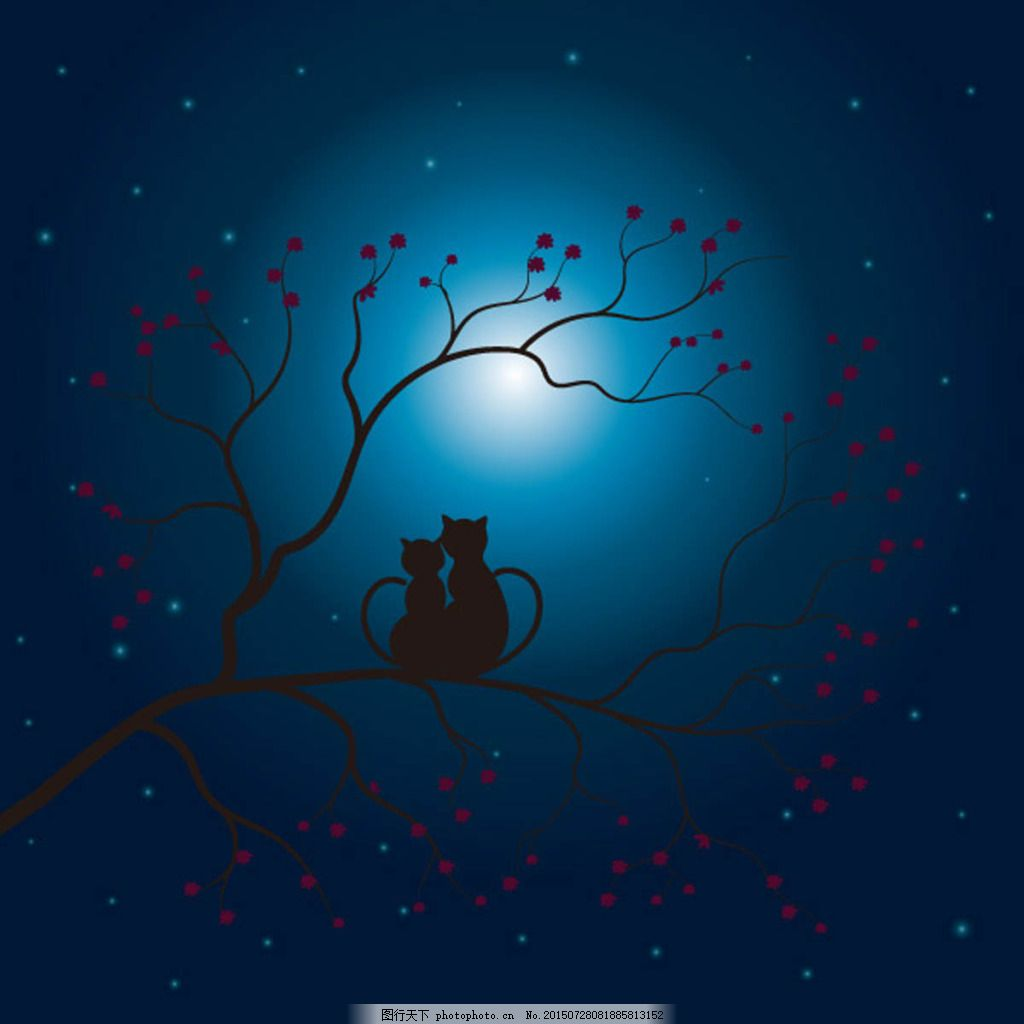 月下的情侣剪影矢量素材 大树 月亮 花草 动物 星空 猴子 情人节素材