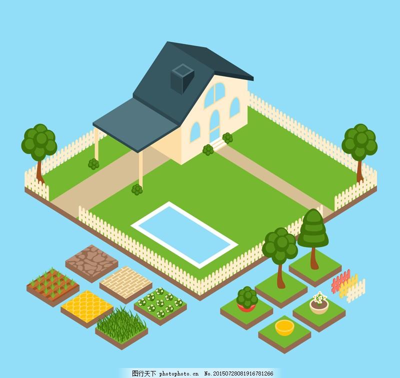 3D菜园房屋俯视图机械素材图片重庆非标矢量设计师图片