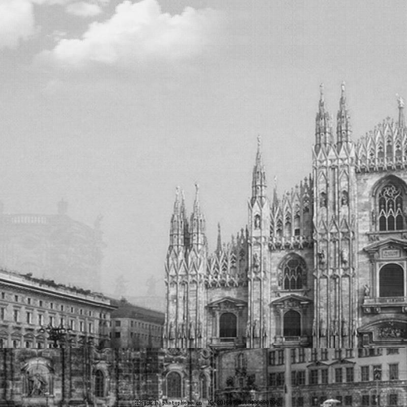 黑白大气欧式建筑背景图 商务大气 男装 灰色