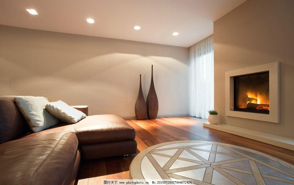 唯美 浪漫 温馨 简洁 简约 家居 装修 米黄色调 壁炉 木地板 沙发