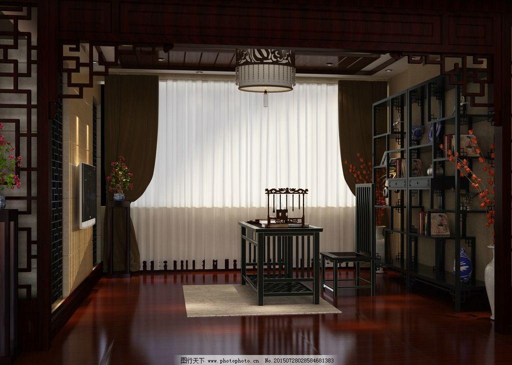 中式展厅店铺效果图 红木家具 中式装修 工装 室内设计 室内效果图