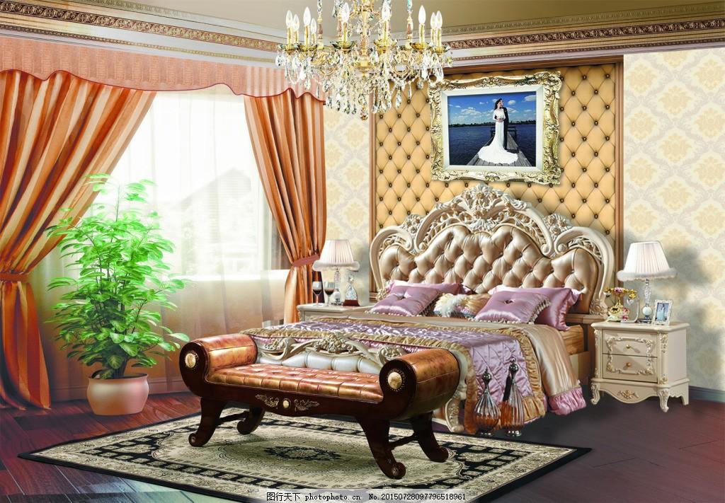 欧式卧室装饰图 壁纸 吊灯 窗户 白色