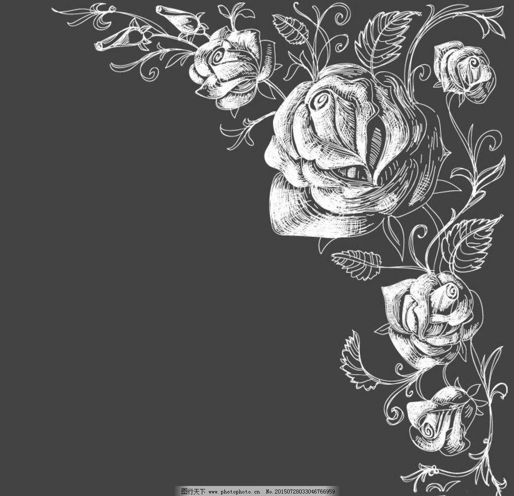 手绘玫瑰花 花卉 鲜花 花草背景 底纹背景  设计 psd分层素材 psd分层