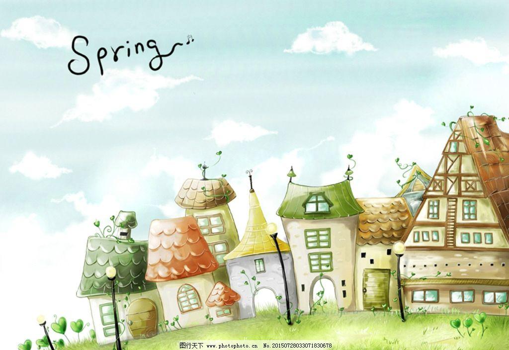郊外 春天卡通