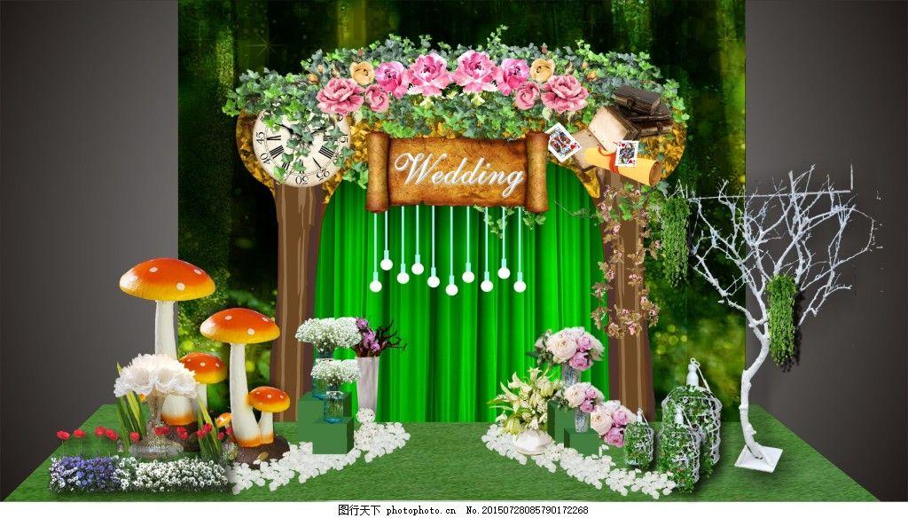 森系婚礼迎宾区设计 纱幔 蘑菇 树枝 跑马灯 花瓣 鲜花 黑色
