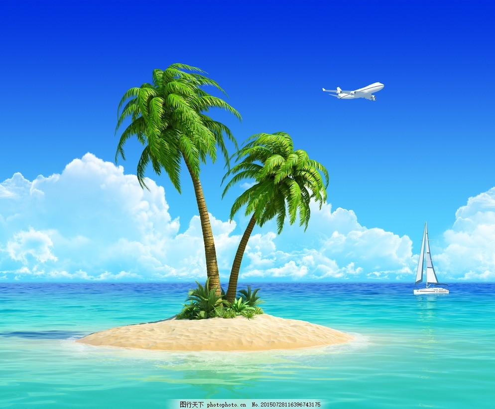 海边椰子树 海边风光 海滩 椰树 大海 椰子树 蓝天 沙滩 海鸥 灯塔