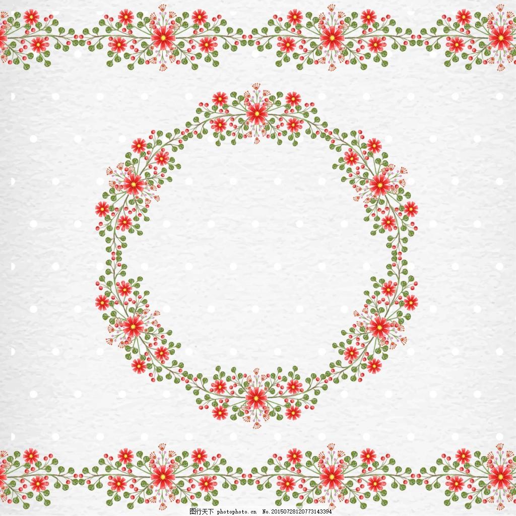 花卉边框 红色花朵 手绘花草 手绘花卉 矢量花卉花边 花边素材 照片边