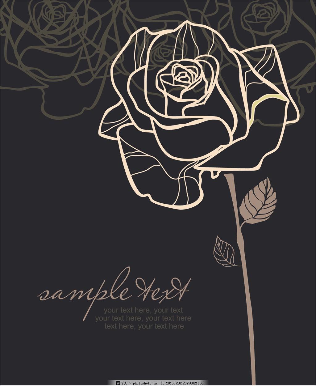 手绘线稿玫瑰花图案,底纹 典雅 经典 纹样 黑色-图行