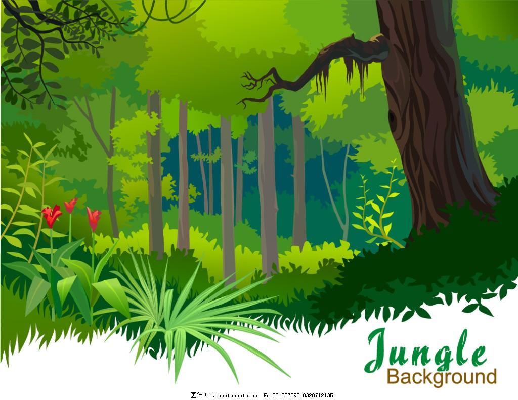 森林 自然森林 卡通矢量图 卡通自然森林 矢量手绘森林 eps 绿色 eps