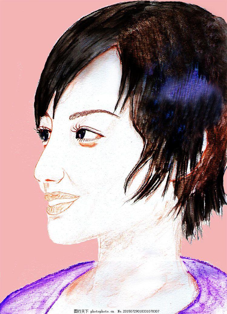 美女侧脸插画