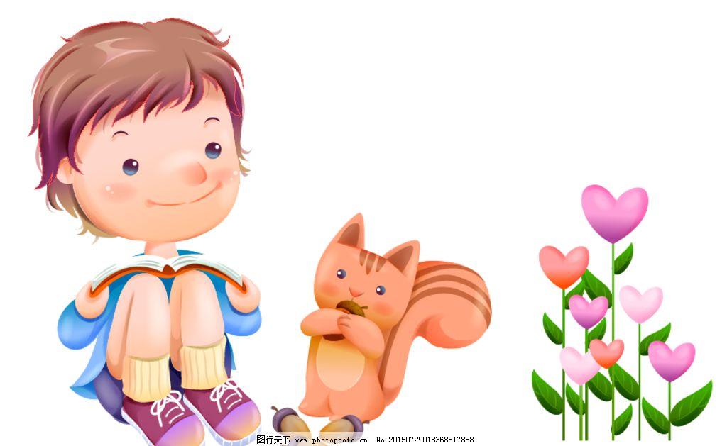 矢量小松鼠 松子 花朵 卡通花朵 手绘花朵 卡通花朵素材 读书 学生
