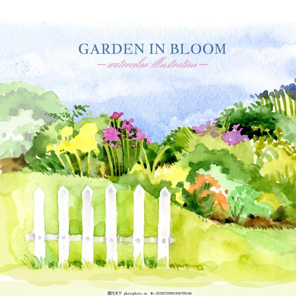 手绘水彩园林 花卉 水彩 鲜花 手 自然 绿色 绘制 花园 工具 植物
