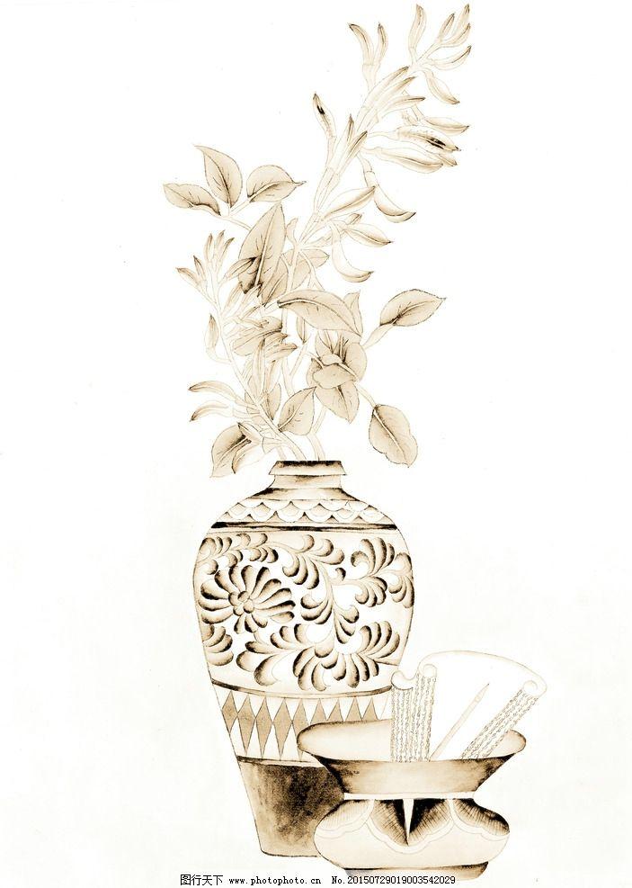 静物花瓶 陶瓷 青瓷 古典 鲜花 国画 写意花卉 传统画 艺术画图片