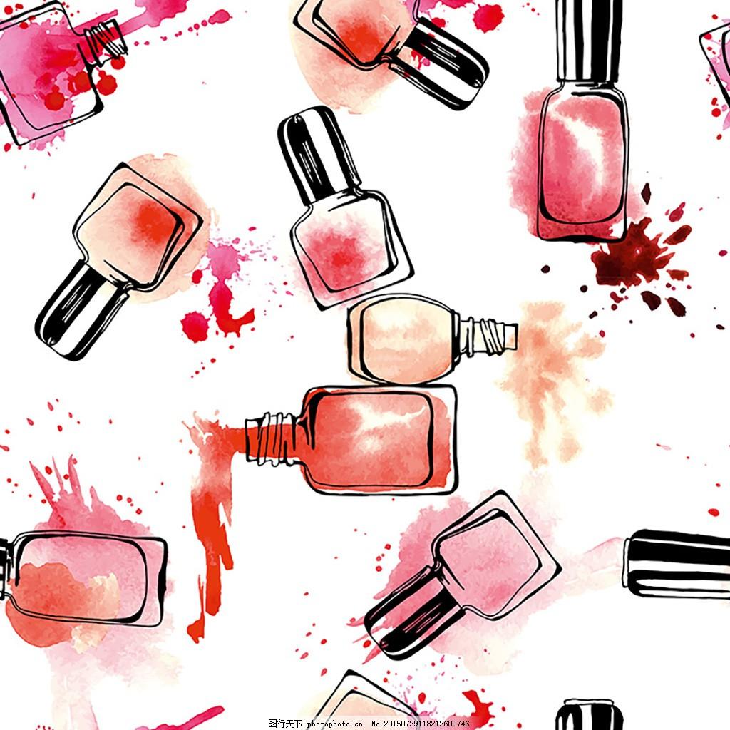 水彩指甲油背景 化妆品 手绘 手绘化妆品 韩式插画 墨迹 水墨