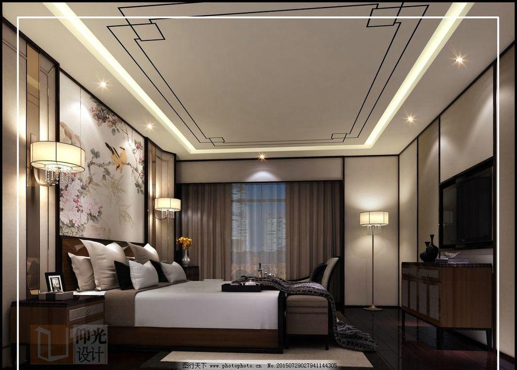 中式卧室图片_室内设计