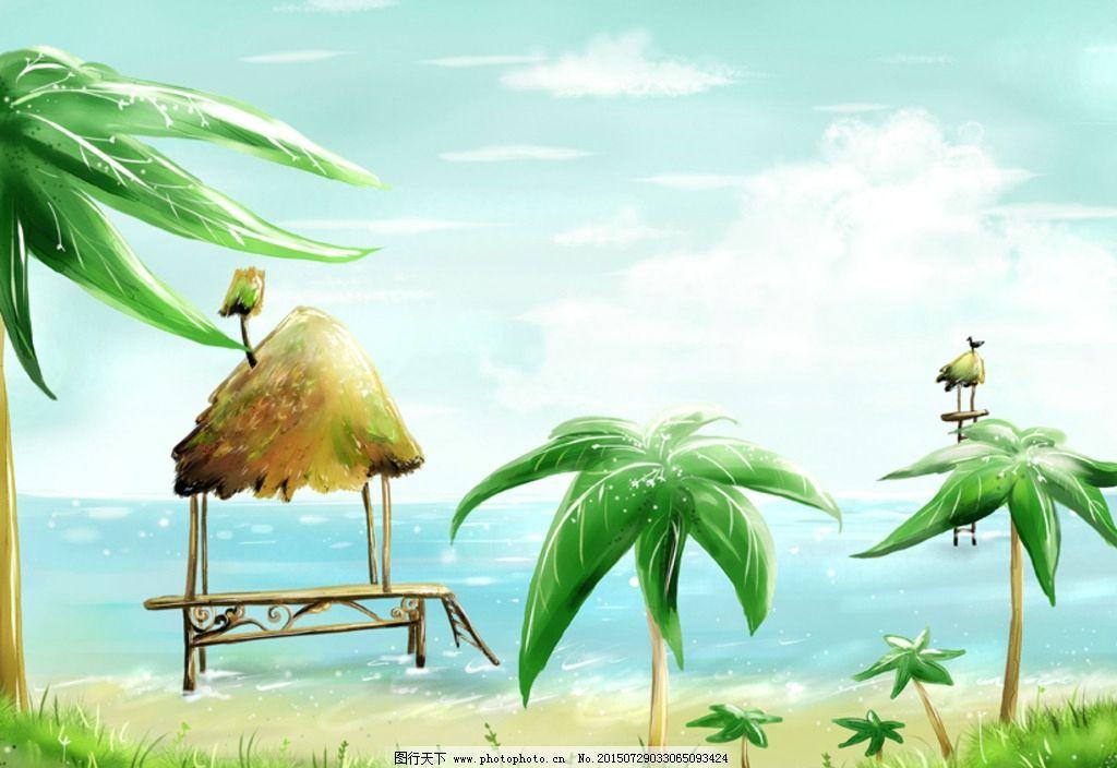 手绘梦幻绿色海边风光风景插画图片