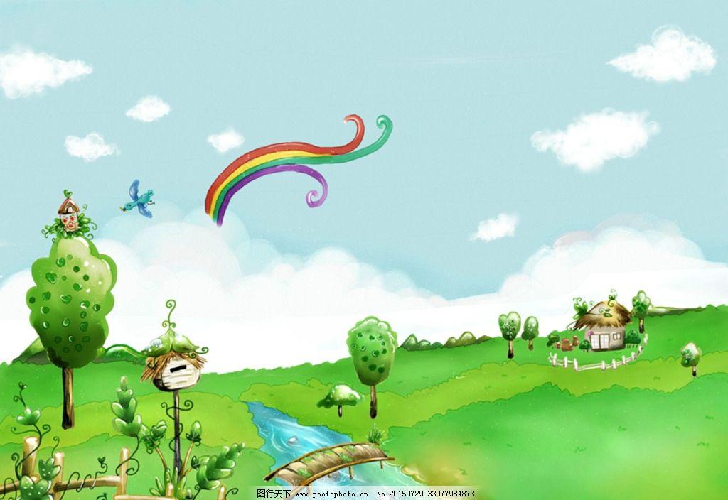 手绘梦幻绿色自然风景插画图片