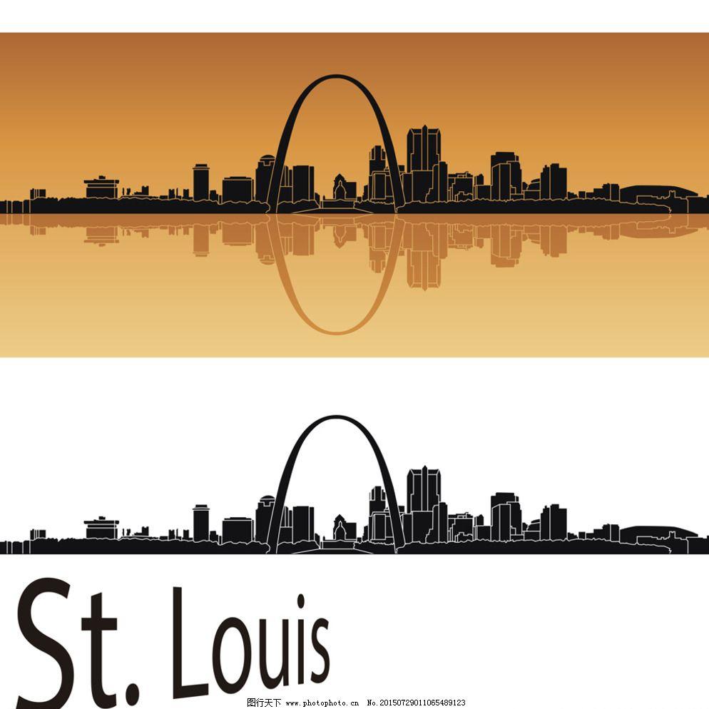 楼房 城市剪影 城市建筑轮廓 建筑群 世界著名城市 金融大厦 手绘