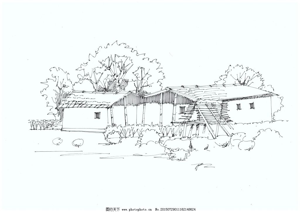 室外手绘线稿图 风景
