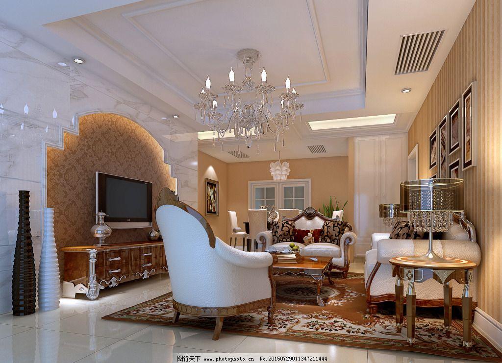 美式田园风格客厅设计效果图,电视墙 吊顶设计 美式