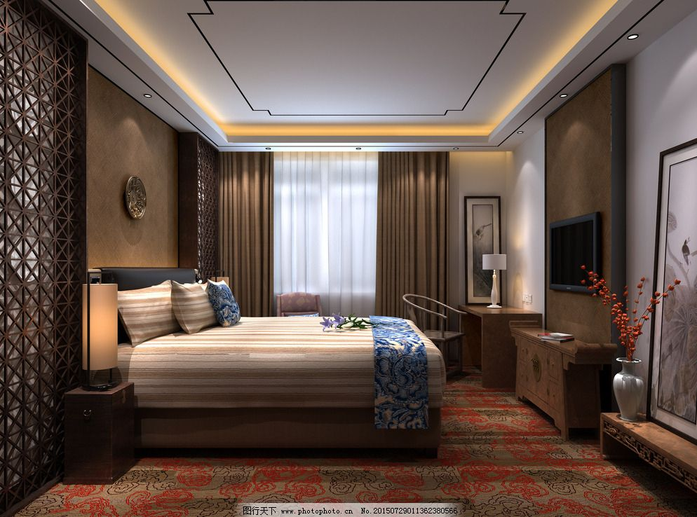 中式客房效果图图片_室内设计_装饰素材_图行天下图库
