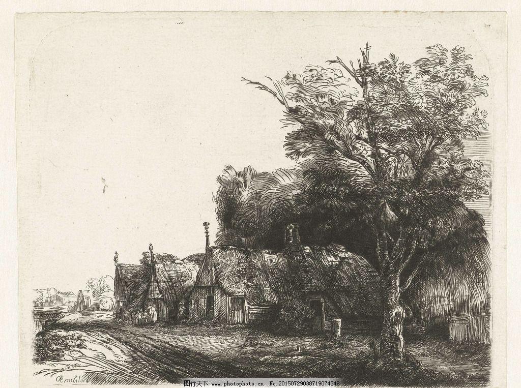 伦勃朗 风景 素描 树 黑白 构图 高清 伦勃朗 摄影 文化艺术 美术绘画