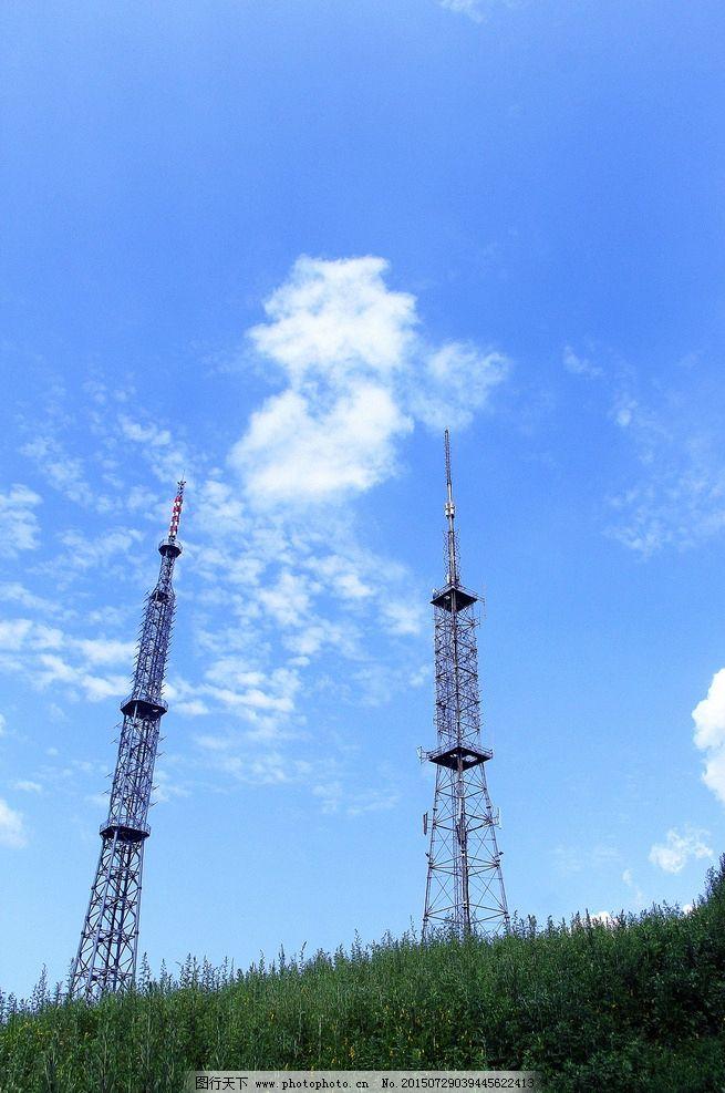电视广播信号塔摄影图片