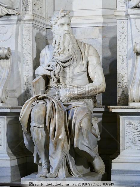 摩西 角 雕像 圣彼得罗温 罗马 米开朗基罗 墓 教皇尤利乌斯二世石雕