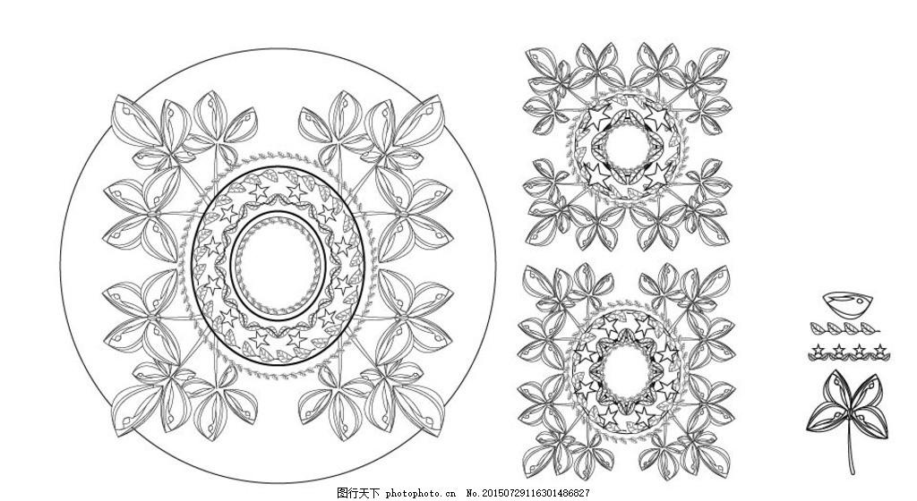 黑白装饰画 装饰图案 原创 图案设计 花面设计 花卉元素 组合图形