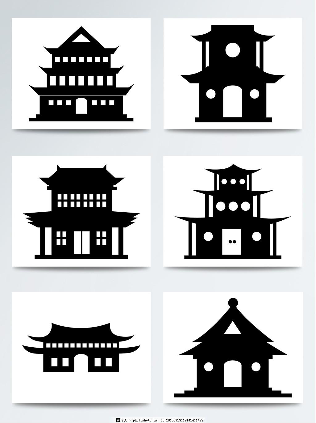 扁平建筑 古代建筑 古建筑 黑色 剪影 简约 建筑 手绘建筑 中式建筑